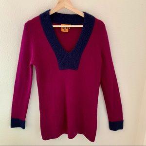 Tory Burch Cashmere Raspberry + Navy Sweater